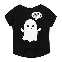 bluezoo - Girl's black ghost printed t-shirt