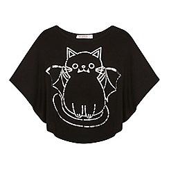 bluezoo - Girl's black bat cat cape t-shirt