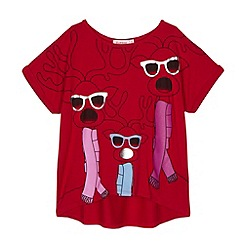 bluezoo - Girl's red shade reindeer Christmas top