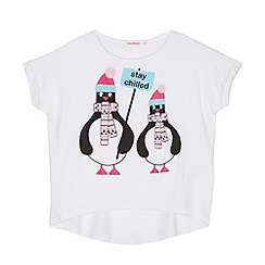 bluezoo - Girl's white penguin printed cape top