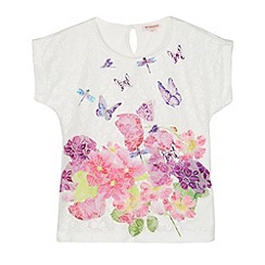 bluezoo - Girl's white butterfly border top
