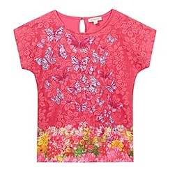 bluezoo - Girl's pink butterfly lace top