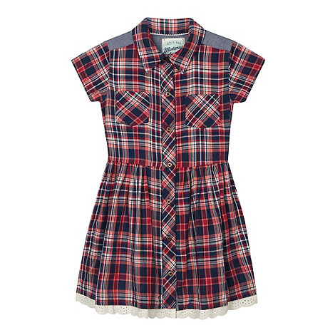 Mantaray - Girl+s navy checked trim dress