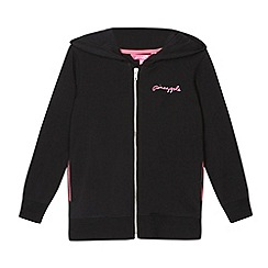 Pineapple - Girl's black zip through logo hoodie