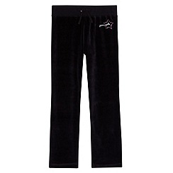 Pineapple - Girl's black velour joggers