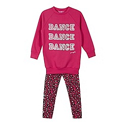 Pineapple - Girl's pink studded animal print jumper and leggings