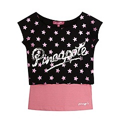 Pineapple - Girl's black star print double layer top