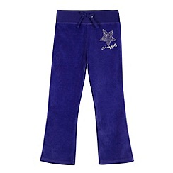 Pineapple - Girl's purple velour jogging bottoms