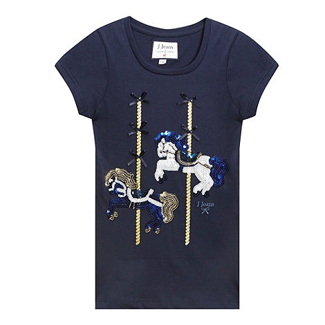 J by Jasper Conran - Designer girl+s blue sequin carousel printed t-shirt
