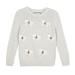 J by Jasper Conran - Designer girl's grey embellished horse patterned jumper