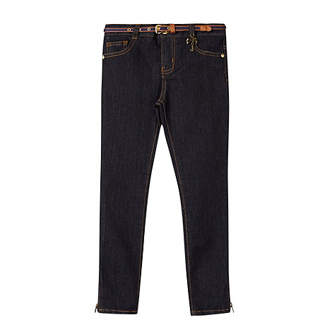 J by Jasper Conran - Designer girl+s navy belted skinny jeans