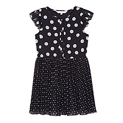 J by Jasper Conran - Designer girl's navy spotted tea dress