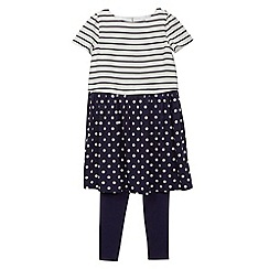 J by Jasper Conran - Designer girl's navy striped and spotted dress and leggings set