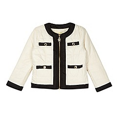 Star by Julien Macdonald - Designer girl's cream collarless quilted jacket