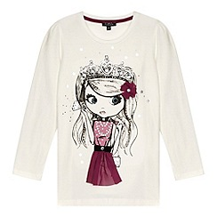 Star by Julien MacDonald - Designer girl's cream princess print embellished top