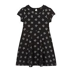 Star by Julien MacDonald - Designer girl's black cat printed dress