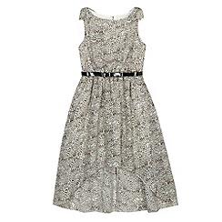 Star by Julien MacDonald - Designer girl's black leopard print dipped hem dress