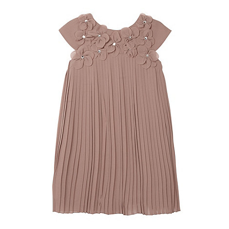 RJR.John Rocha - Designer girl's taupe embellished flower pleated dress