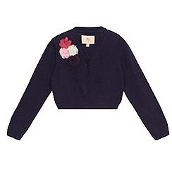 RJR.John Rocha - Designer girl's navy corsage knitted cardigan