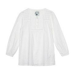 Mantaray - Girl's white lace trim woven top