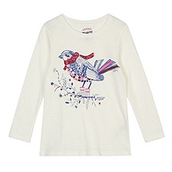 Mantaray - Girl's cream winter bird sparkle top
