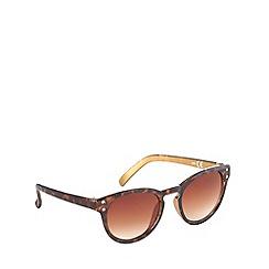 bluezoo - Girl's brown tortoiseshell round plastic sunglasses