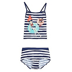 bluezoo - Girl's navy striped tankini