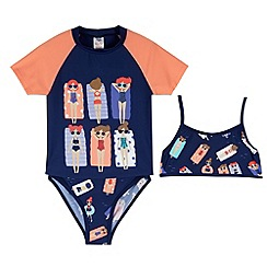 bluezoo - Girl's navy sunbathing girl three piece set