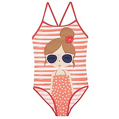 bluezoo - Girl's red beach girl printed swimsuit