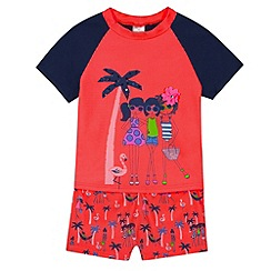 bluezoo - Girl's bright coral holiday print rash top and tankini set