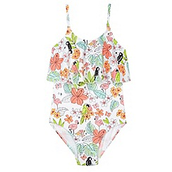 bluezoo - Girl's white tropical print swimsuit