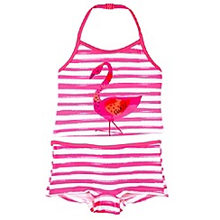 bluezoo - Girl's pink striped flamingo tankini