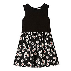 bluezoo - Girl's black daisy print dress