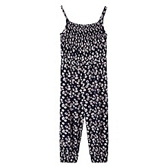 bluezoo - Girl's navy daisy print jumpsuit