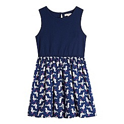 bluezoo - Girl's navy seagull print dress