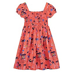 bluezoo - Girl's bright coral beach print dress