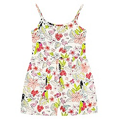 bluezoo - Girl's natural tropical bird print playsuit