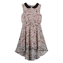 bluezoo - Girl's off white houses print dipped hem dress