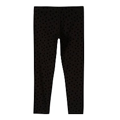 bluezoo - Girl's black daisy flocked leggings