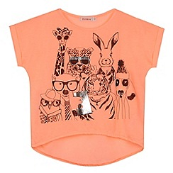 bluezoo - Girl's coral animal 'selfie' printed t-shirt