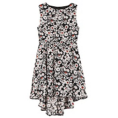 bluezoo - Girl's black daisies dipped hem dress