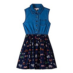 bluezoo - Girl's navy denim print dress