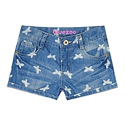 bluezoo - Girl's blue butterfly denim shorts
