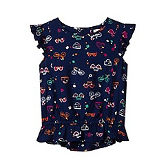 bluezoo - Girl's navy sunglasses print blouse