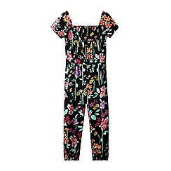 bluezoo - Girl's black floral jumpsuit