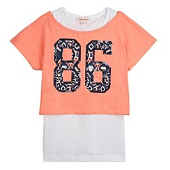 bluezoo - Girl's coral sequin '86' 2-in-1 top
