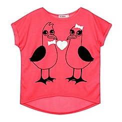 bluezoo - Girl's pink seagulls t-shirt