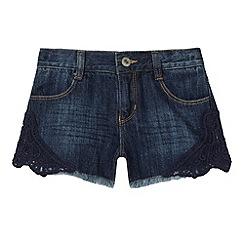 bluezoo - Girl's blue denim lace shorts