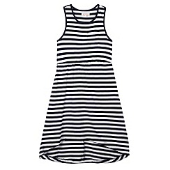 bluezoo - Girl's navy striped dipped hem dress