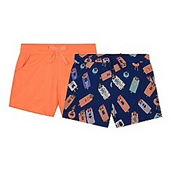 bluezoo - Pack of two girl's orange pool print shorts